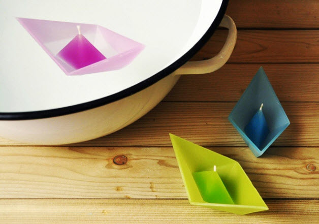 Colorful Candles in Shape of Folded Paper Boat_1