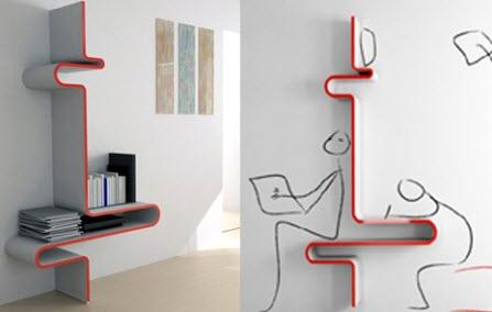 Wall Mounted Bookcase by Yoon-Zee Kim
