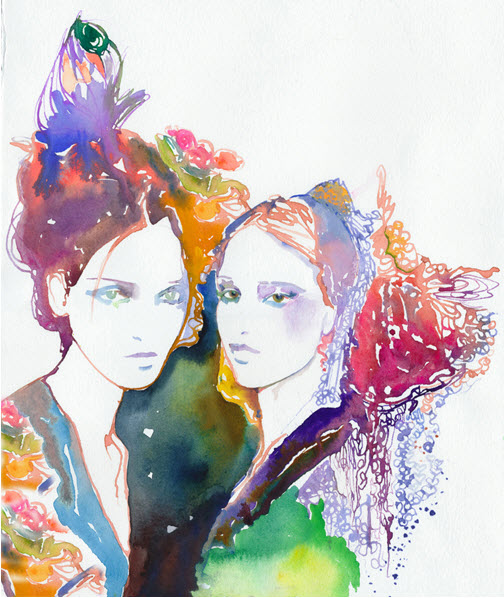 Watercolour Fashion Illustration Print by Cate Parr