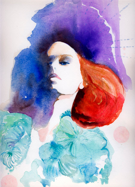 Watercolour Fashion Illustration Print by Cate Parr_6