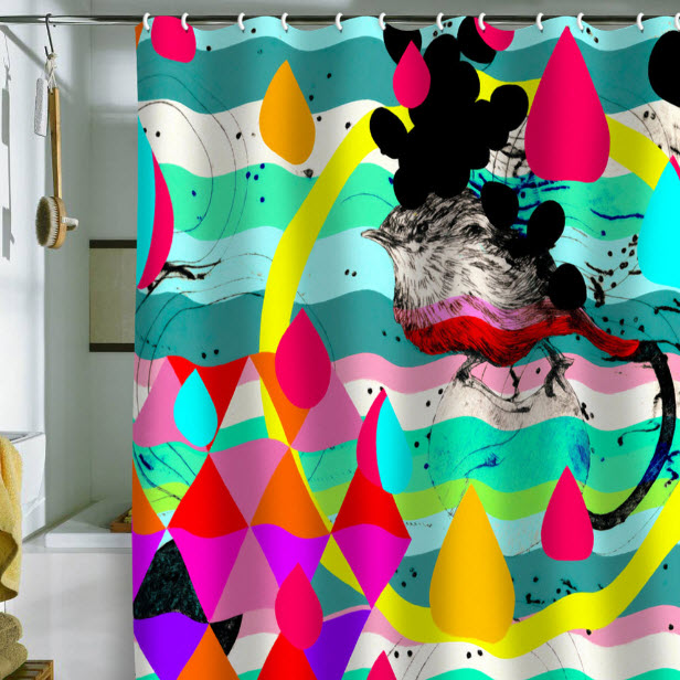 bright shower curtains | in seven colors - colorful designs