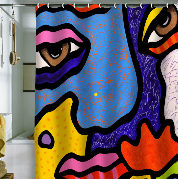 Bright Shower Curtains | In Seven Colors - Colorful Designs ...