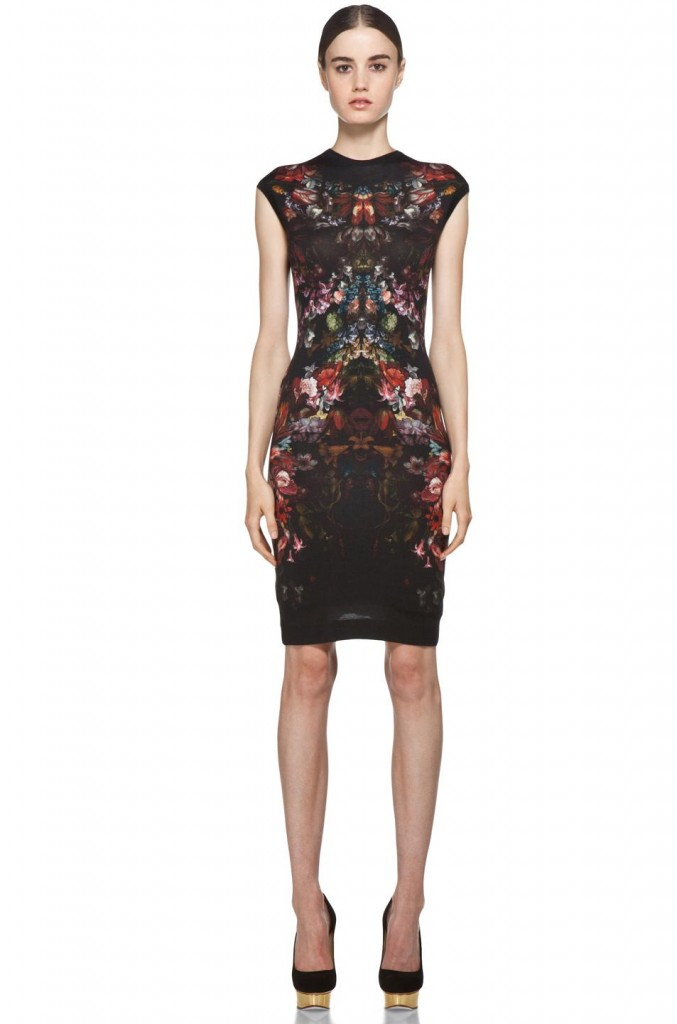 Colorful Floral Print Mini Prom Dresses by Alexander McQueen