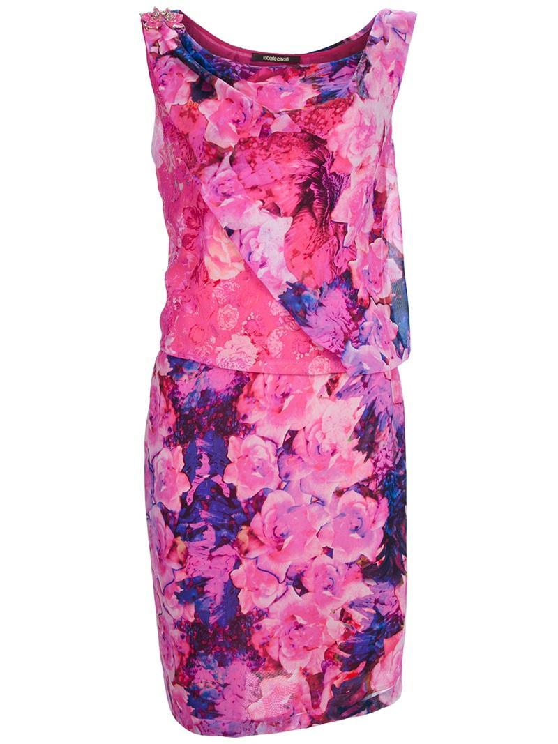 Floral Print Mini Prom Dresses by Roberto Cavalli