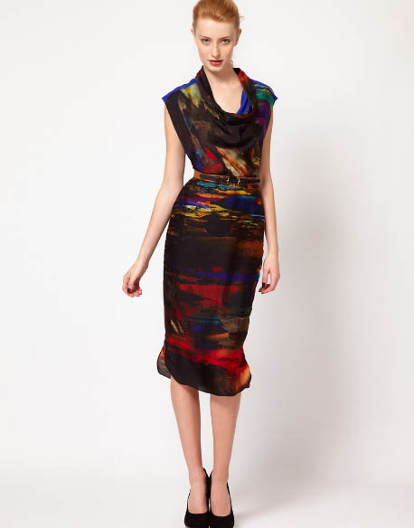 Black-yet-colorful Printed Midi Dress by Ted Baker