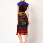 Black yet colorful Printed Midi Dress by Ted Baker