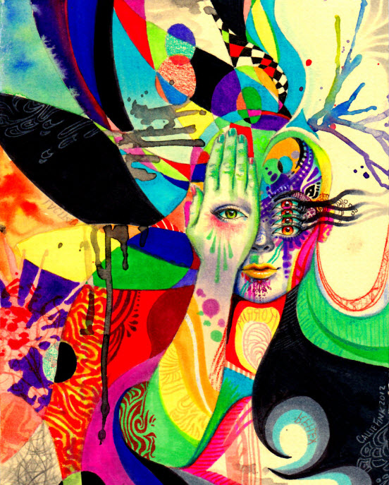 Colorful Mixed Media Drawings by Callie Fink_5