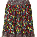 Anna Sui Multicolor Pleated Silk Skirt