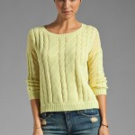 Autumn Cashmere Sheer Cable Pullover in Quince