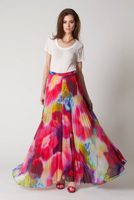 PINK MEMORIES Pleated Maxi Skirt at In Seven Colors – Colorful ...