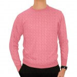 Forzieri Men's Pink Cashmere Crewneck Sweater