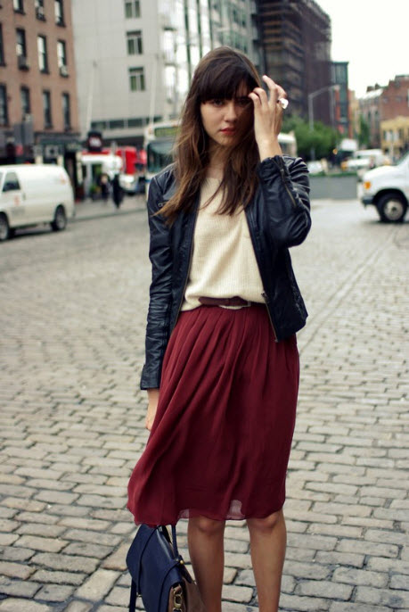 Pleated Skirt With Leather Jacket
