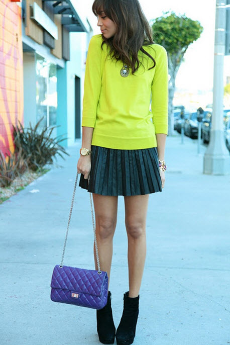 Pleated Skirt With Sweater