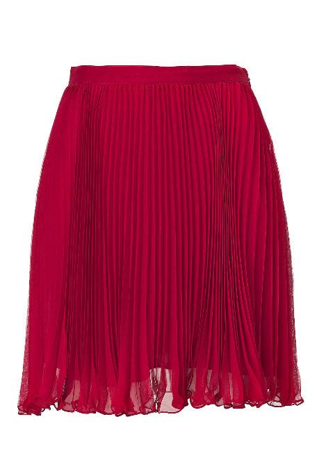 RALPH LAUREN Coastal Red Micro Pleated Chiffon Pipa Skirt