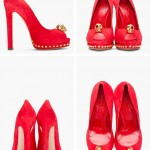Red Designer Bridal Shoes, Alexander Mcqueen Red Suede Skull Heels