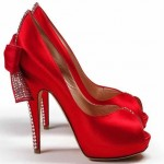 Red Designer Bridal Shoes, Sizzler Red Satin Embellished