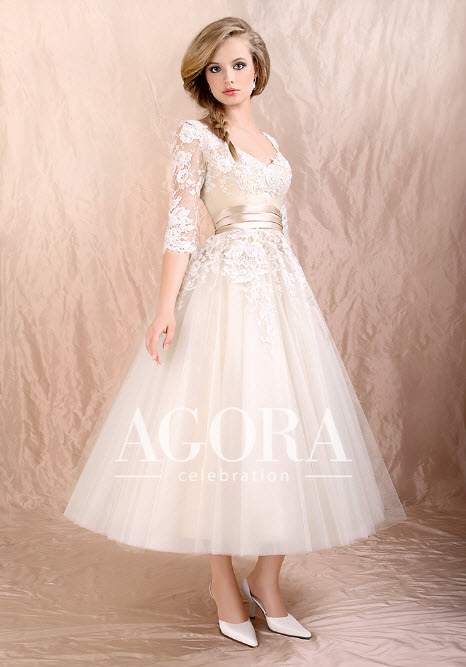 Tea Length Wedding Dresses with Lace by Agora