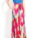 alice + olivia Shannon Pleated Maxi Skirt in Jungle Floral