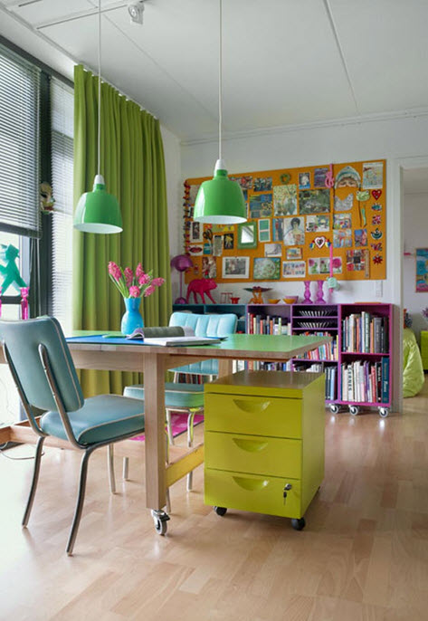 Colorful Home Office Decor Ideas_5