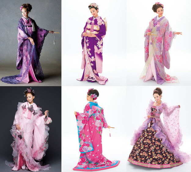 Colorful Japanese Kimono Wedding Dresses by Scene Duno at In Seven ...