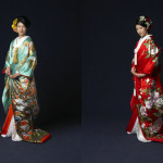 Colorful Japanese Kimono Wedding Dresses