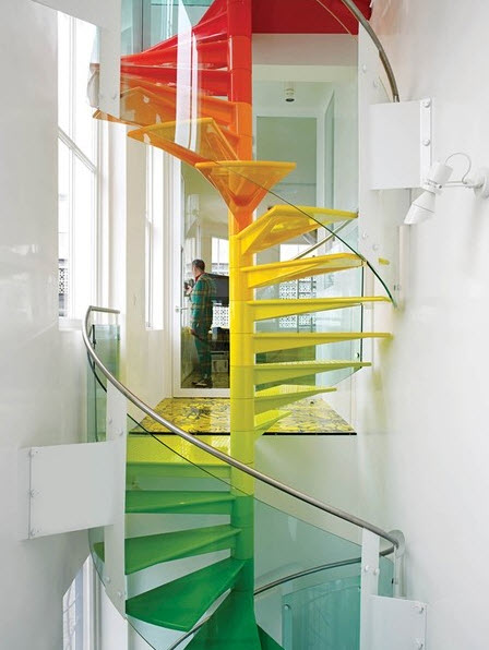 Colorful Staircases to Spice Up Your House – Rainbow Spiral_1