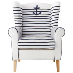 Pirate Navy Blue Armchair for Your Blue and White Living room_2