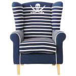 Pirate Navy Blue Armchair for Your Blue and White Living room_3