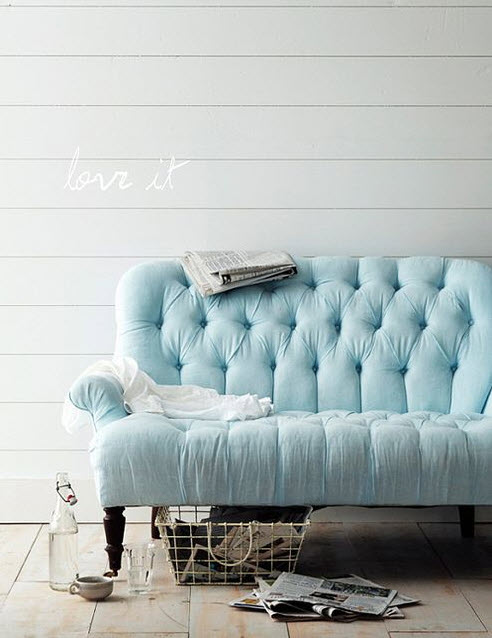 Colored Tufted Sofas Blue Button-Tufted Sofa