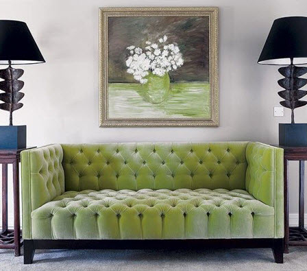 Colored Tufted Sofas Green Tufted Sofa_1