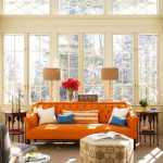 Colored Tufted Sofas Orange Tufted Sofa