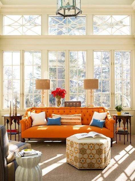 Colored Tufted Sofas Orange Tufted Sofa