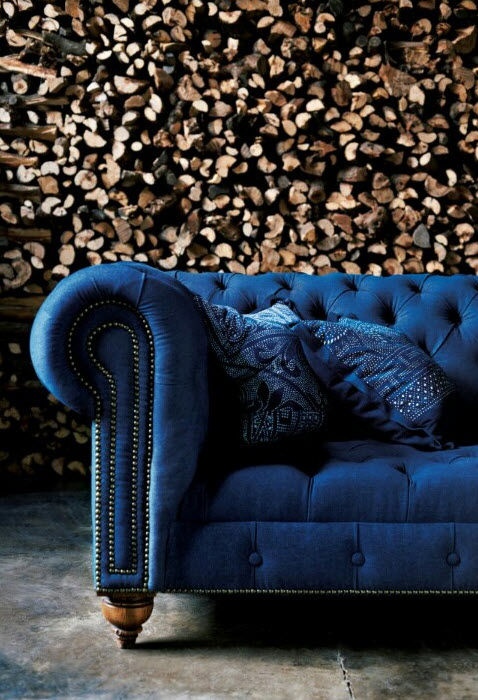Colored Tufted Sofas Ralph Lauren Bold Blue Tufted Couch