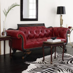 Colored Tufted Sofas Red Tufted-Leather Sofa