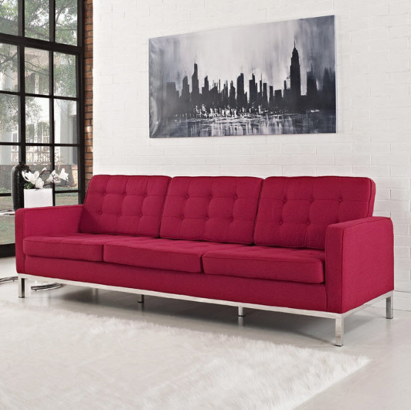 Colored Tufted Sofas Red Tweed Tufted Sofa