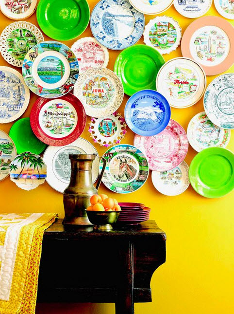 Colorful Dinner Plate Wall Arrangements_5
