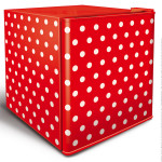 Husky Mini Countertop Fridge Red White Polkadot