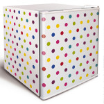 Husky Mini Countertop Fridge White Colorful Polkadot