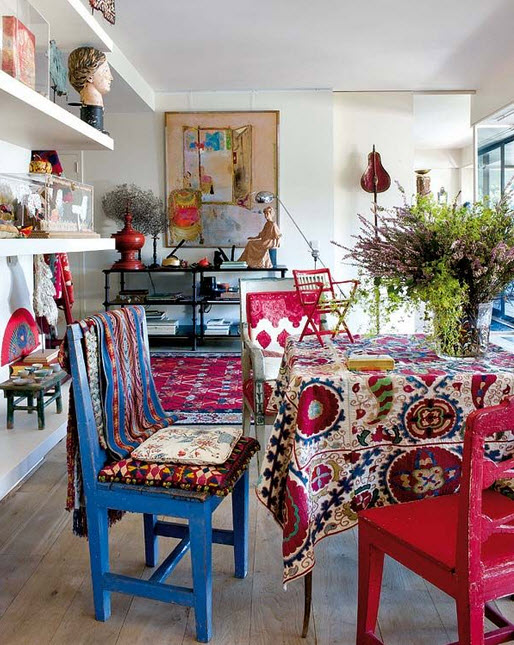 Bold Color Bohemian Dining Room
