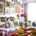 Bold Color Bohemian Living Room