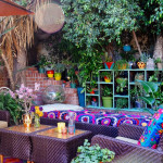 Bold Color Bohemian Outdoor Living Room