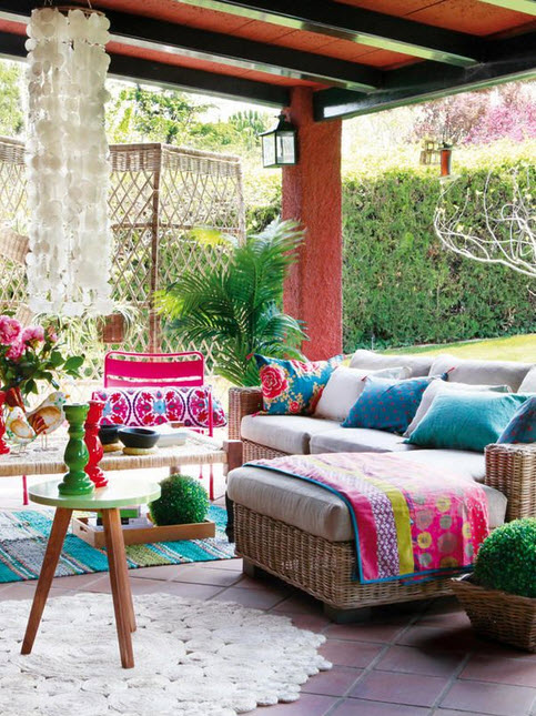 Bold Color Bohemian Outdoor Living Room_1