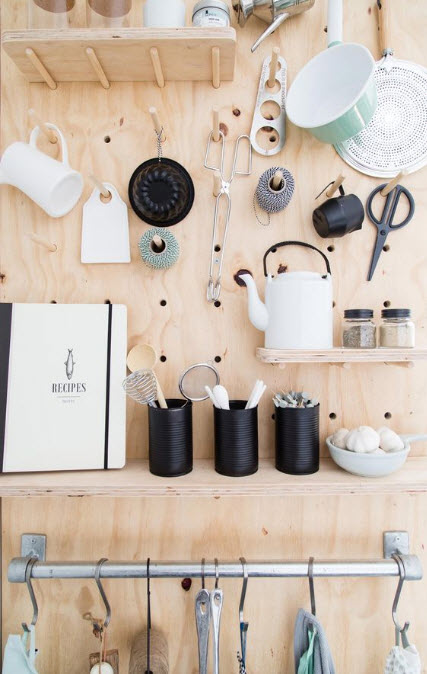 Practical, Creative, Decorative Pegboard Ideas for Kitchen_2