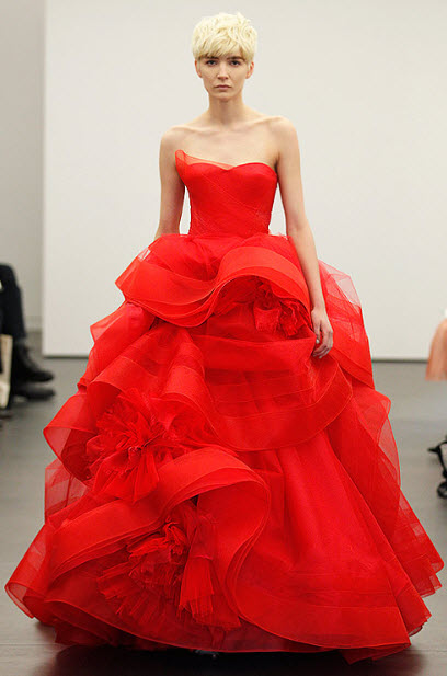 Red wedding dresses by vera wang in seven colors for Red wedding dress vera wang