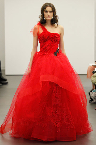 Red wedding dresses by vera wang 10 at in seven colors for All red wedding dresses