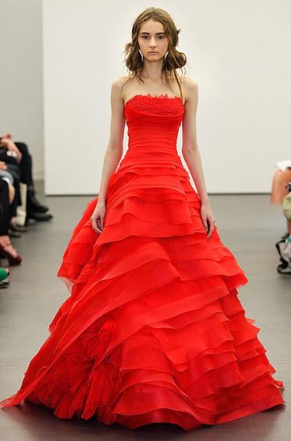 Red wedding dresses by vera wang 13 at in seven colors for All red wedding dresses