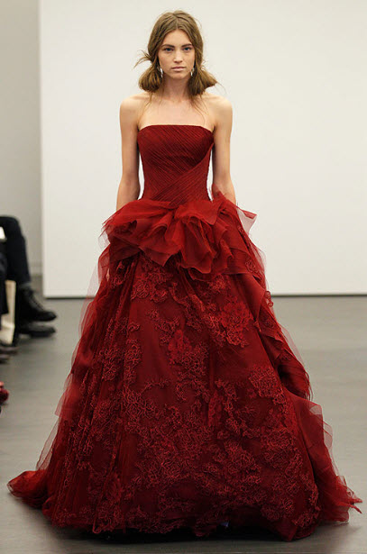 Red wedding dresses by vera wang 2 at in seven colors for All red wedding dresses
