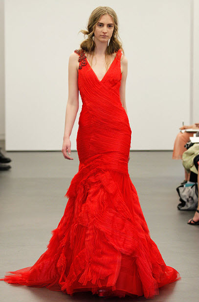 Red wedding dresses by vera wang 6 at in seven colors for Red wedding dress vera wang