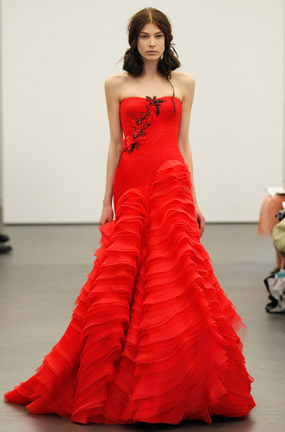 Red wedding dresses by vera wang 7 at in seven colors for Red wedding dress vera wang