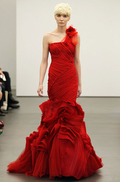 Red wedding dresses by vera wang 8 at in seven colors for Red wedding dress vera wang
